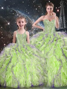 Smart Organza Sweetheart Sleeveless Lace Up Beading and Ruffles Quinceanera Gown in Yellow Green