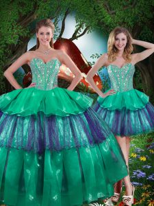 Sexy Sweetheart Sleeveless Quinceanera Dress Floor Length Beading and Ruffled Layers Turquoise Organza