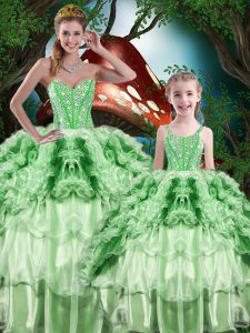Nice Green Sweetheart Lace Up Beading and Ruffles and Ruffled Layers Quinceanera Gown Sleeveless