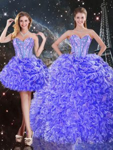 Fashion Sleeveless Floor Length Beading and Ruffles Lace Up Sweet 16 Quinceanera Dress with Purple