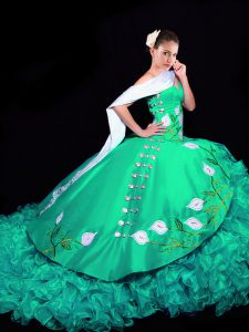 Sleeveless Organza Brush Train Lace Up Vestidos de Quinceanera in Turquoise with Embroidery and Ruffles