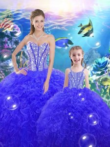 Customized Sweetheart Sleeveless Lace Up Sweet 16 Quinceanera Dress Royal Blue Organza