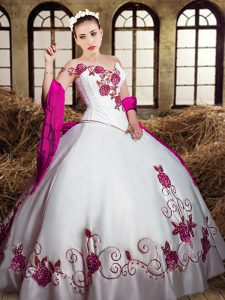 White Ball Gowns Taffeta Sweetheart Sleeveless Embroidery Floor Length Lace Up Quinceanera Gown