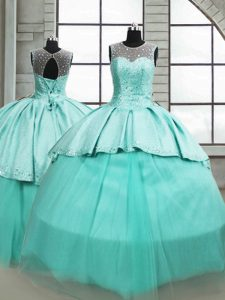 Scoop Sleeveless Quince Ball Gowns Brush Train Beading Turquoise Tulle