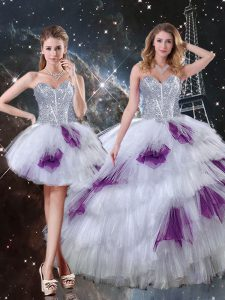Multi-color Lace Up 15th Birthday Dress Beading and Ruffled Layers and Sequins Sleeveless Floor Length