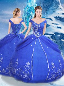 Exquisite Appliques 15th Birthday Dress Blue Lace Up Short Sleeves Floor Length