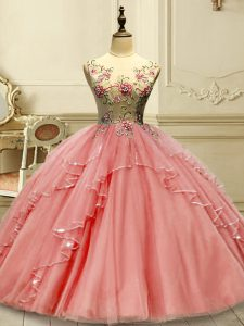 On Sale Floor Length Lace Up Quince Ball Gowns Watermelon Red for Military Ball and Sweet 16 and Quinceanera with Appliques