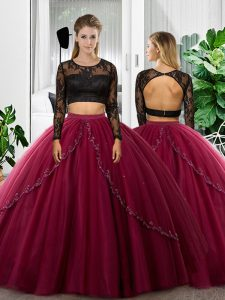 Charming Fuchsia Backless Quinceanera Dress Lace and Ruching Long Sleeves Floor Length