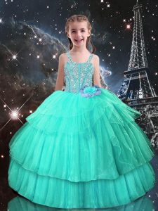Attractive Beading Girls Pageant Dresses Turquoise Lace Up Sleeveless Floor Length