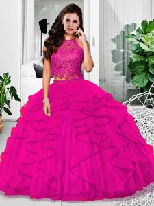Fitting Floor Length Zipper 15th Birthday Dress Fuchsia for Military Ball and Sweet 16 and Quinceanera with Lace and Ruffles