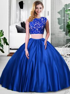 Custom Design Royal Blue Two Pieces Lace and Ruching 15 Quinceanera Dress Zipper Taffeta Sleeveless Floor Length