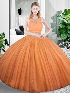 Sleeveless Floor Length Lace and Ruching Zipper Quinceanera Gown with Orange