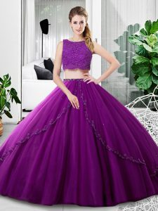 Purple Two Pieces Tulle Scoop Sleeveless Lace and Ruching Floor Length Zipper Quinceanera Gowns