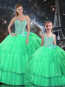 Amazing Ruffled Layers Sweet 16 Dresses Apple Green Lace Up Sleeveless Floor Length