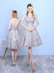 Hot Sale Grey Half Sleeves Printed Lace Up Dama Dress for Prom and Party