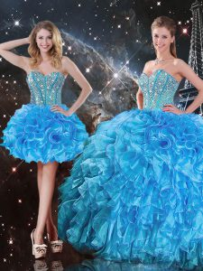 Dynamic Baby Blue Lace Up Sweetheart Beading and Ruffles Ball Gown Prom Dress Organza Sleeveless