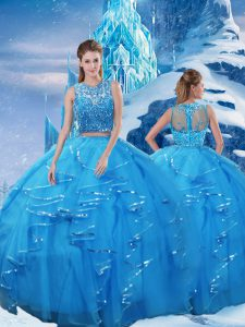 Scoop Sleeveless Ball Gown Prom Dress Floor Length Beading and Ruffles Baby Blue Tulle