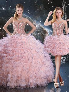 Best Baby Pink Lace Up Sweet 16 Dress Beading and Ruffles Sleeveless Floor Length