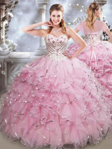 Edgy Beading and Ruffles Sweet 16 Dresses Baby Pink Lace Up Sleeveless Floor Length
