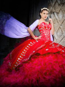 Hot Selling Red Vestidos de Quinceanera Sweetheart Sleeveless Brush Train Lace Up
