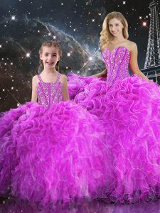 Fuchsia Ball Gowns Beading and Ruffles Sweet 16 Quinceanera Dress Lace Up Organza Sleeveless Floor Length