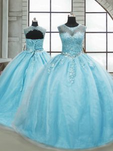Ball Gowns Sleeveless Aqua Blue Quinceanera Gown Brush Train Lace Up