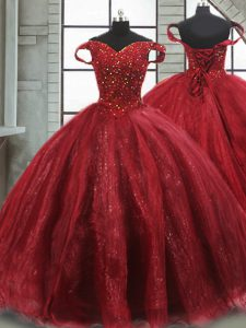 Sleeveless Beading Lace Up Sweet 16 Dress with Wine Red Brush Train