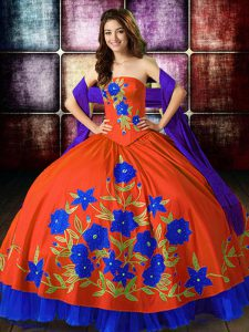 Perfect Sleeveless Lace Up Floor Length Embroidery Quinceanera Dresses