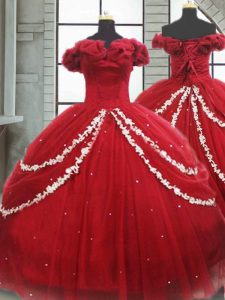 Decent Off The Shoulder Sleeveless Brush Train Lace Up Quinceanera Dresses Wine Red Tulle