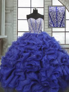 Fitting Blue Organza Lace Up Sweetheart Sleeveless Floor Length Ball Gown Prom Dress Beading and Ruffles