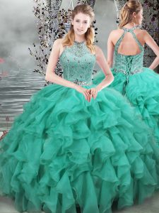 Turquoise Sleeveless Beading and Ruffles Lace Up Quinceanera Dresses
