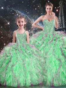 Wonderful Sleeveless Beading and Ruffles Lace Up Quinceanera Gowns