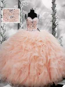 Graceful Peach Sleeveless Beading and Ruffles Floor Length Quinceanera Gown