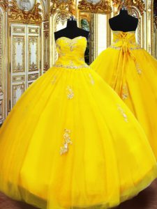 Elegant Sleeveless Lace Up Floor Length Beading and Appliques Ball Gown Prom Dress