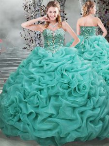 Beautiful Sleeveless Beading and Pick Ups Lace Up Quinceanera Gown with Turquoise Brush Train
