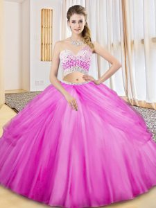 Best Selling Sleeveless Tulle Floor Length Criss Cross Sweet 16 Dress in Lilac with Beading and Ruching and Pick Ups