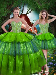 Organza Sleeveless Floor Length Sweet 16 Dresses and Beading and Ruffled Layers