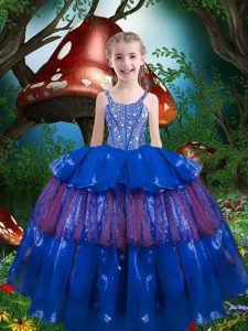 Simple Floor Length Ball Gowns Sleeveless Blue Little Girls Pageant Dress Lace Up