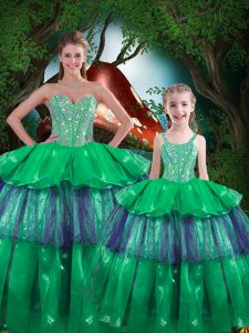 Clearance Sweetheart Sleeveless Ball Gown Prom Dress Floor Length Beading and Ruffled Layers Green Organza