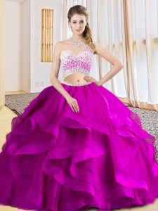 Vintage Fuchsia Tulle Criss Cross One Shoulder Sleeveless Floor Length Sweet 16 Dresses Beading and Ruffles