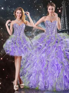 Admirable Lavender Quince Ball Gowns Military Ball and Sweet 16 and Quinceanera with Beading and Ruffles Sweetheart Sleeveless Lace Up