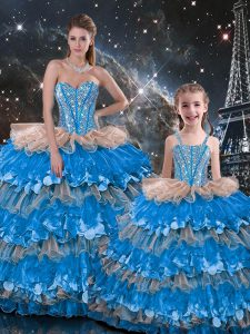 Multi-color Organza Lace Up Quince Ball Gowns Sleeveless Floor Length Beading and Ruffles