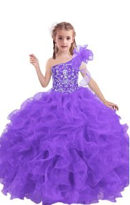 Lilac Sleeveless Organza Lace Up Child Pageant Dress for Quinceanera and Wedding Party