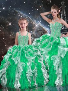 Glorious Multi-color Sleeveless Beading and Ruffles Floor Length Quinceanera Dress