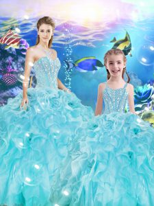 Aqua Blue Sweetheart Lace Up Beading and Ruffles Quinceanera Dresses Sleeveless