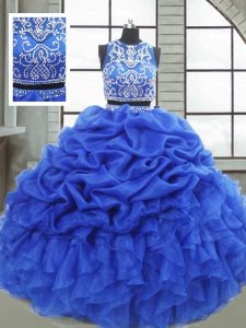 Fancy Sleeveless Organza Floor Length Zipper Quince Ball Gowns in Royal Blue with Beading and Ruffles and Pick Ups