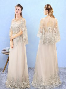 Champagne Vestidos de Damas For with Beading and Appliques Scoop Half Sleeves Lace Up