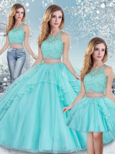 New Style Aqua Blue Sleeveless Floor Length Beading and Lace and Sequins Clasp Handle Quinceanera Dress