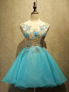 Unique Aqua Blue Lace Up Prom Party Dress Embroidery Sleeveless Mini Length