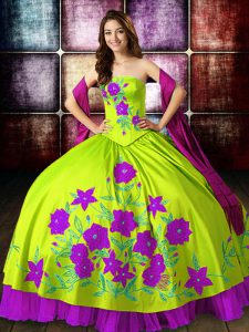 Multi-color Sleeveless Satin Lace Up Quinceanera Gown for Military Ball and Sweet 16 and Quinceanera